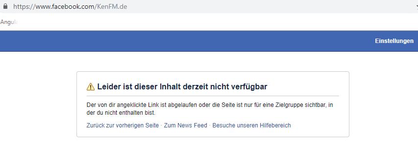 Facebook der inhalt ist derzeit nicht verfügbar